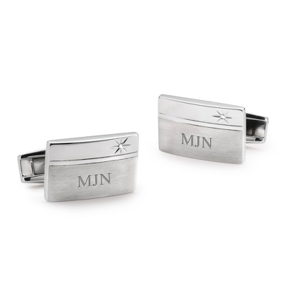Diamond Accented Cuff Links with complimentary Weave Texture Valet Box - Men's Jewelry