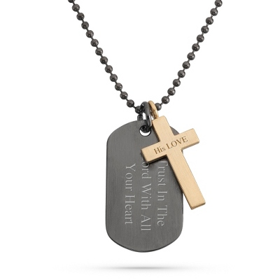 Gunmetal & Gold Cross Dog Tag- Horizontal with complimentary Weave Texture Valet Box
