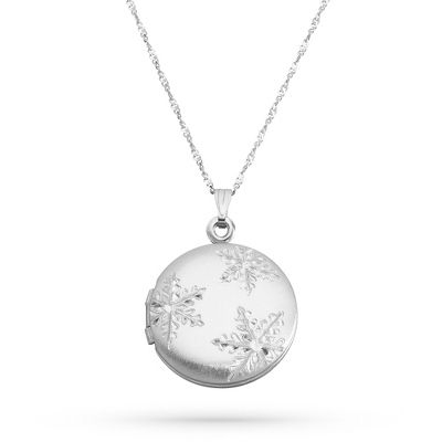 Sterling Silver Snowflake Locket with complimentary Filigree Keepsake Box - UPC 825008353008