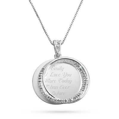 Interlocking Eternity Silver CZ Swing Necklace with complimentary Filigree Keepsake Box - Fashion Necklaces