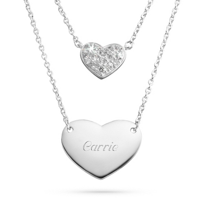Sterling Silver Duo Heart Necklace with complimentary Filigree Keepsake Box