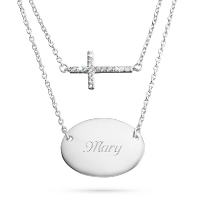 Sterling Silver Duo Cross Necklace with complimentary Filigree Keepsake Box