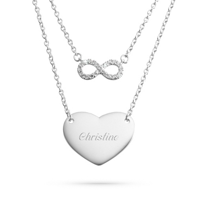 Sterling Silver Duo Infinity Necklace with complimentary Filigree Keepsake Box