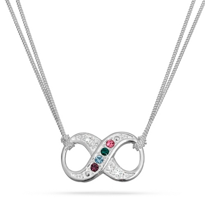 Sterling Silver Infinity Birthstone Necklace with complimentary Filigree Keepsake Box