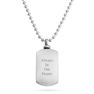 Memorial Dog Tag Urn Necklace with complimentary Tri Tone Valet Box