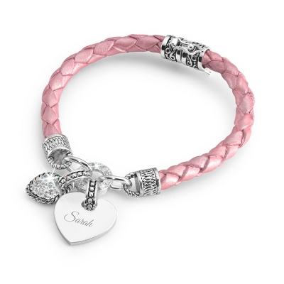 Girls Pink Leather Bracelet with complimentary Filigree Heart Box - Flower Girl