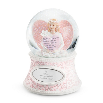 Personalized Flower Angel of Blessings Snow Globe
