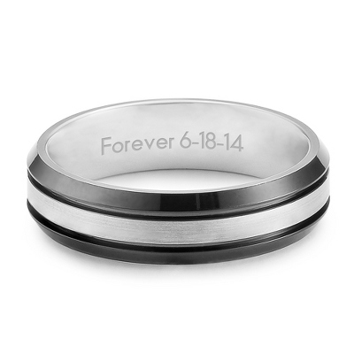 Men's Titanium Black & Silver Wedding Band with complimentary Tri Tone Valet Box - UPC 825008355484