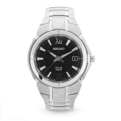 Seiko Black Dial Solar Watch with complimentary Black Lacquer Wrist Watch Box - $235.00