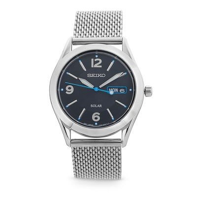 Seiko Solar Mesh Bracelet Watch with complimentary Black Lacquer Wrist Watch Box - $175.00