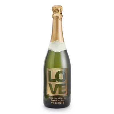"Sparkling ""Love"" Design Etched Wine Bottle - $65.00"