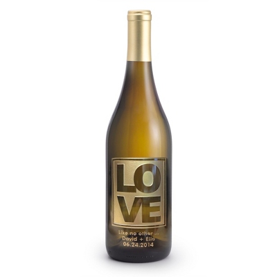 "Reserve Chardonnay ""Love"" Design Etched Wine Bottle - UPC 825008355620"
