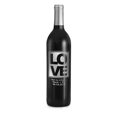"Reserve Merlot ""Love"" Design Etched Wine Bottle - UPC 825008355637"