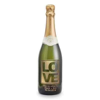 "Reserve Sparkling ""Love"" Design Etched Wine Bottle - 25th & 50th Anniversary Gifts"
