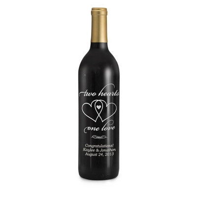 "Cabernet ""Two Hearts, One Love"" Etched Wine Bottle - 25th & 50th Anniversary Gifts"