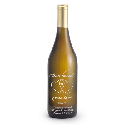 "Chardonnay ""Two Hearts, One Love"" Etched Wine Bottle - 25th & 50th Anniversary Gifts"