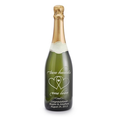 "Sparkling ""Two Hearts, One Love"" Etched Wine Bottle"