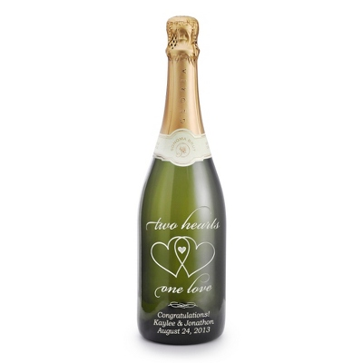 "Reserve Sparkling ""Two Hearts, One Love"" Etched Wine Bottle"