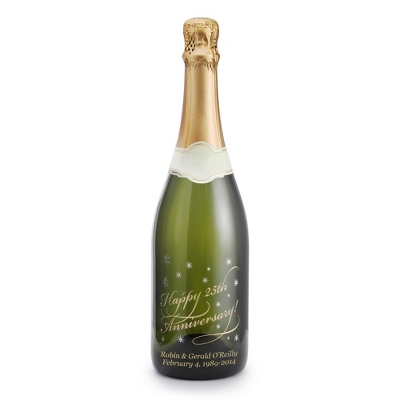 "Sparkling ""Happy Anniversary"" Etched Wine Bottle - 25th & 50th Anniversary Gifts"