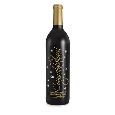 "Reserve Merlot ""Congratulations"" Etched Wine Bottle - UPC 825008355958"