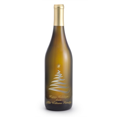 Chardonnay Swirly Tree Etched Wine Bottle - UPC 825008355989