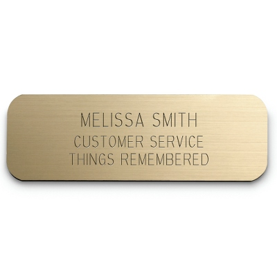 1 x 3 Gold Plastic Name Badge - Engraving Plates & Name Badges