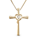 14K Gold/Sterling Cross Heart Necklace at Things Remembered