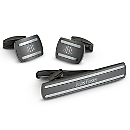 Black Steel Cuff Links and Tie Bar Set at Things Remembered