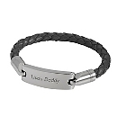 Gunmetal Leather ID Bracelet with Free Weave Texture Valet Box at Things Remembered