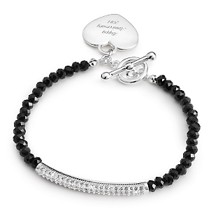 Image of Black Gemstone Pave Bar Bracelet with complimentary Filigree Keepsake Box