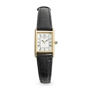 Image of Ladies Seiko Black Leather Strap Watch