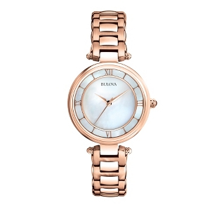 Image of Ladies Bulova Rose Gold Mother of Pearl Watch 97L124