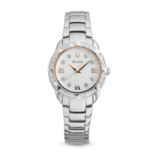 Image of Ladies Bulova Two Tone Rose Gold Watch 96R176