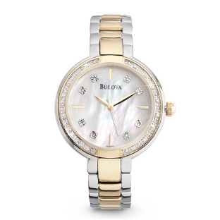 Image of Ladies Bulova Two Tone Diamond Accented Watch 98R172