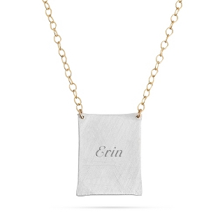 Image of Sterling Silver & 14K Gold Hand Brushed Rectangle Necklace with complimentary Filigree Keepsake Box