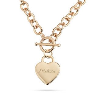Image of Classic Gold Padlock Heart Toggle Necklace with complimentary Filigree Keepsake Box