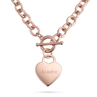 Image of Classic Rose Gold Padlock Heart Toggle Necklace with complimentary Filigree Keepsake Box