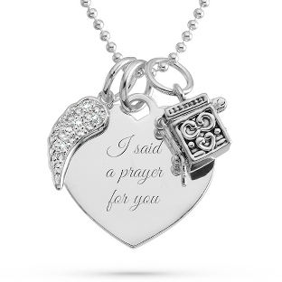 Image of Prayer Box and Angel Wing Necklace with complimentary Filigree Keepsake Box