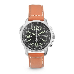 Image of Seiko Casual Solar Chronograph Watch SSC081 with complimentary Black Lacquer Wrist Watch Box