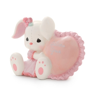 Image of Precious Moments Ceramic Girl Bunny Bank