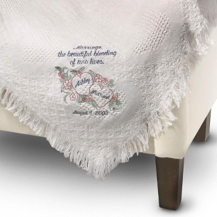 Image of White Heart Blending of Lives Marriage Throw