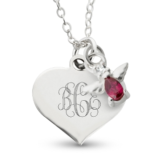 Image of Girl's January Birthstone Necklace with complimentary Filigree Heart Box