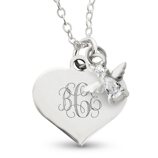 Image of Girl's April Birthstone Necklace with complimentary Filigree Heart Box