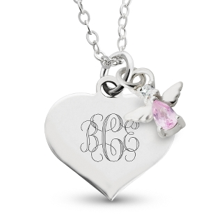 Image of Girl's June Birthstone Angel Necklace with complimentary Filigree Heart Box