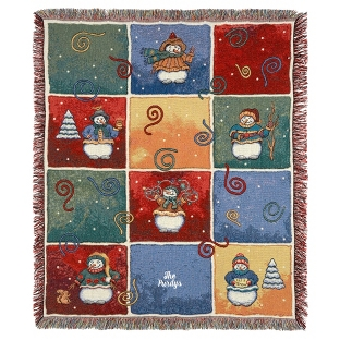 Image of Whimsical Snowman Throw