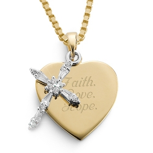 Image of 14K Gold/Sterling CZ Cross Necklace with complimentary Filigree Keepsake Box