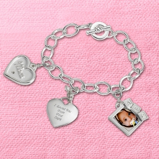 Image of Welcome to Motherhood Charm Bracelet with complimentary Filigree Keepsake Box