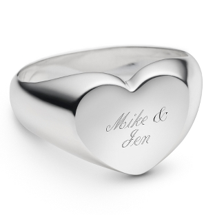 Image of Size 6 Sterling Silver Heart Ring with complimentary Filigree Keepsake Box