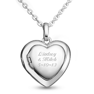 Image of Sterling Silver Family Heart Locket with complimentary Filigree Keepsake Box