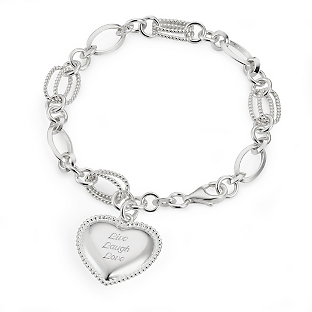 Image of Sterling Textured Link Heart Bracelet with complimentary Filigree Keepsake Box